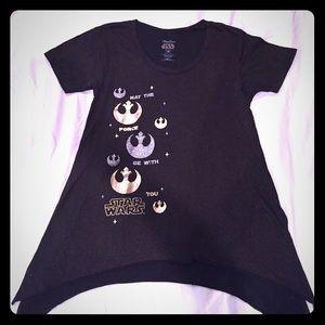 Disney Parks Star Wars Black Sparkle Tee Sz M